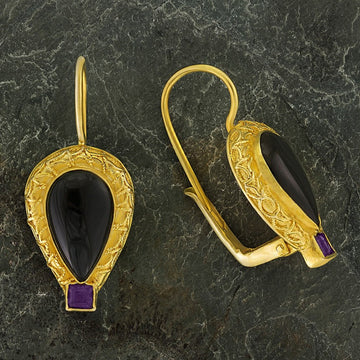 Penelope Pureheart Onyx and Amethyst Earrings
