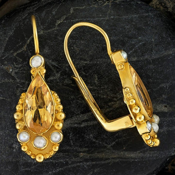 Tears of Niobe Citrine and Pearl Earrings