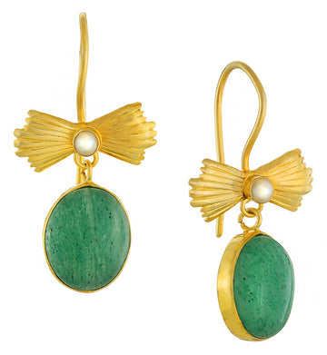 Aventurine Bow Earrings