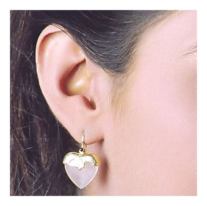 Little Nell Rose Quartz Heart Earrings