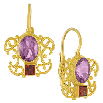 Gazebo Amethyst and Garnet Earrings