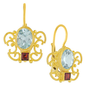 Gazebo Blue Topaz and Garnet Earrings