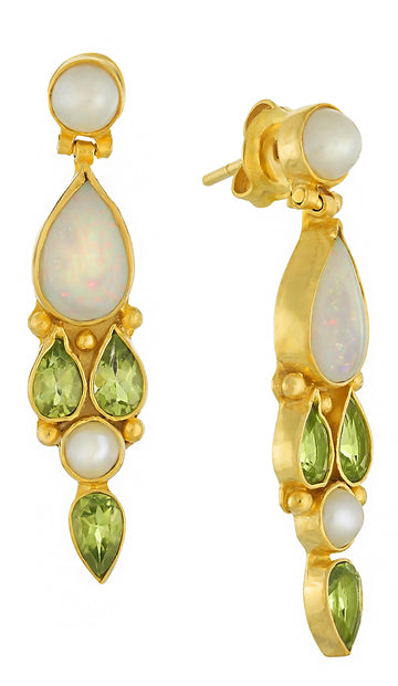 Jenny Lind Opal, Peridot and Cultured Pearl Earrings