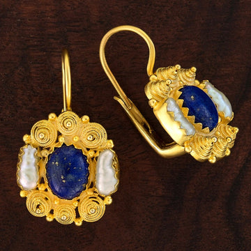 Jane Austen Lapis and Pearl Earrings