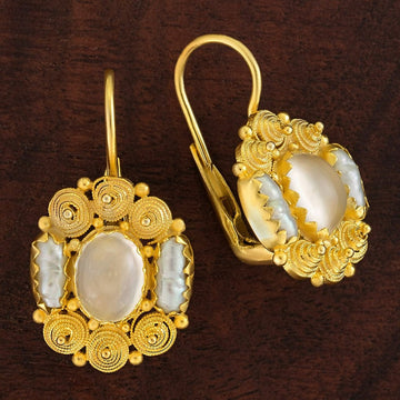 Jane Austen Moonstone and Pearl Earrings
