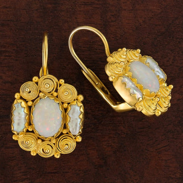 Jane Austen Opal and Pearl Earrings