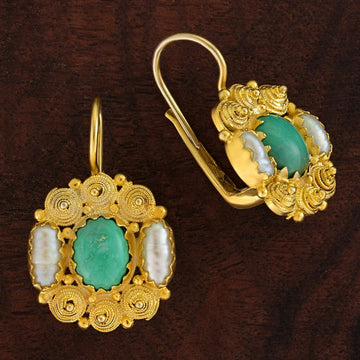 Jane Austen Turquoise and Pearl Earrings