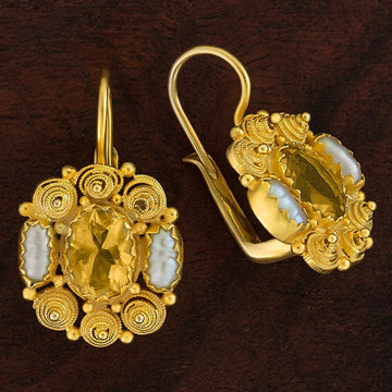 Jane Austen Citrine and Pearl Earrings