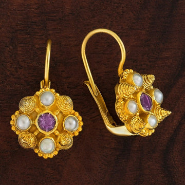 Ann Radcliffe Amethyst and Pearl Earrings