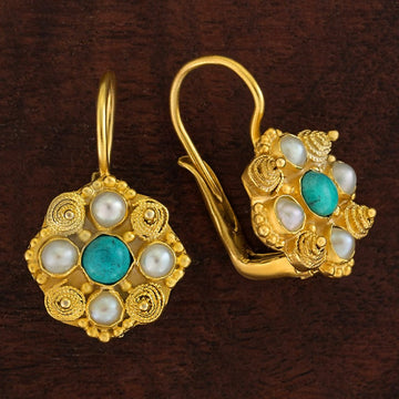 Ann Radcliffe Turquoise and Pearl Earrings