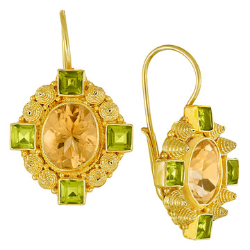 Queen Bess Citrine and Peridot Earrings