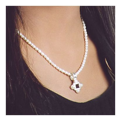 Mona Lisa Pearl and Cubic Zirconia Necklace