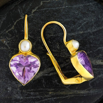 Becky Sharp Amethyst and Pearl Earrings