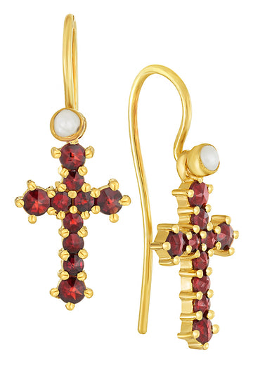 Czech Republic Garnet Cross Earrings