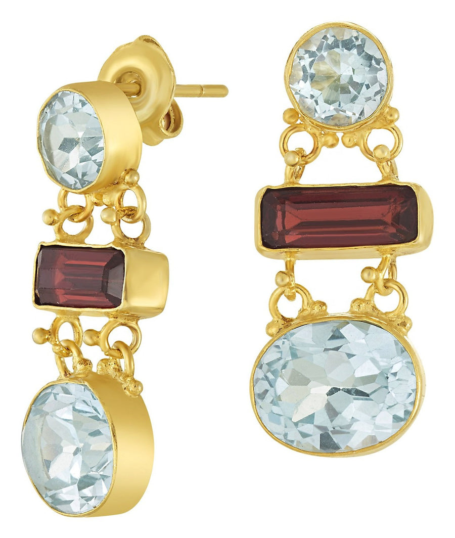 Great Expectations Blue Topaz and Garnet Earrings