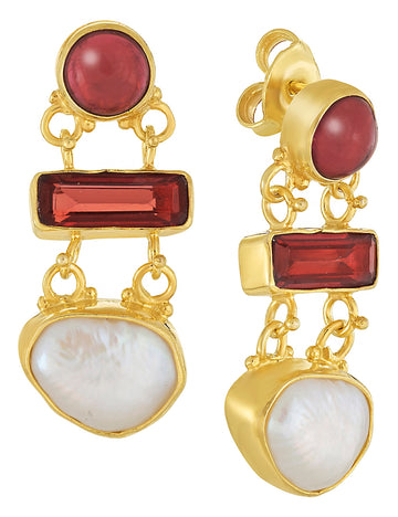 Great Expectations Garnet and Pearl Earrings