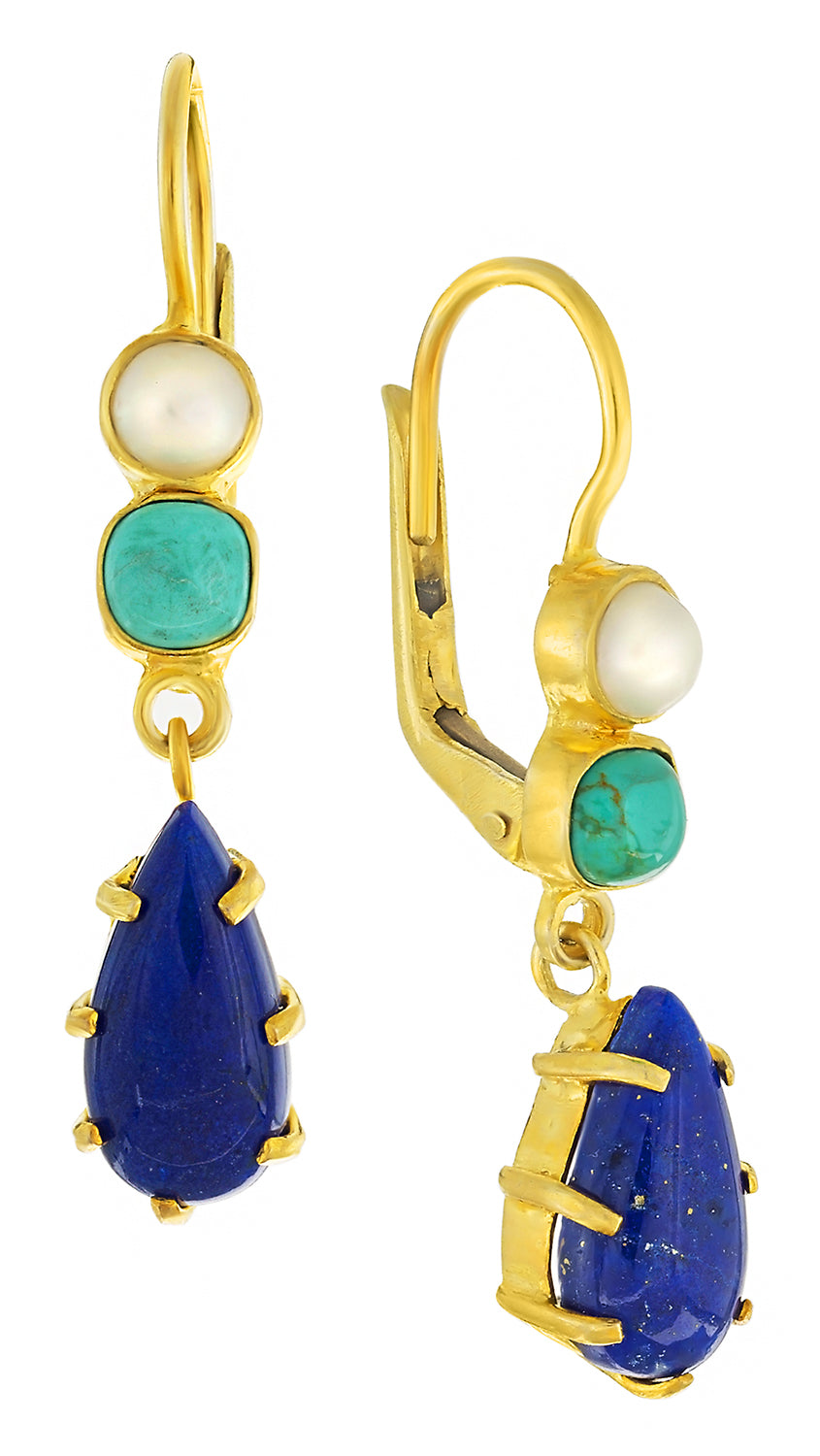 Duchess Of Kent Lapis, Turquoise and Pearl Earrings