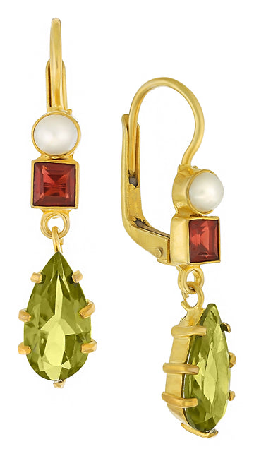 Duchess Of Kent Peridot, Garnet and Pearl Earrings