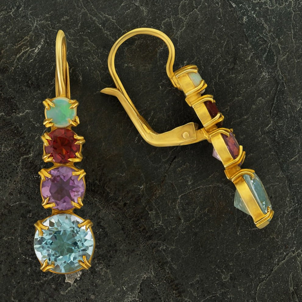Christina Rossetti Blue Topaz, Amethyst, Garnet and Opal Earrings