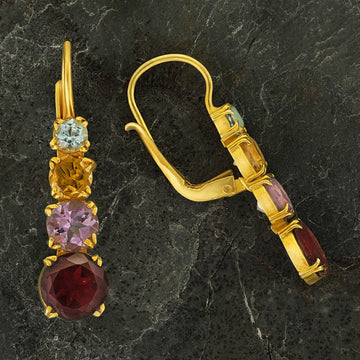 Christina Rossetti Garnet, Amethyst, Citrine and Blue Topaz Earrings