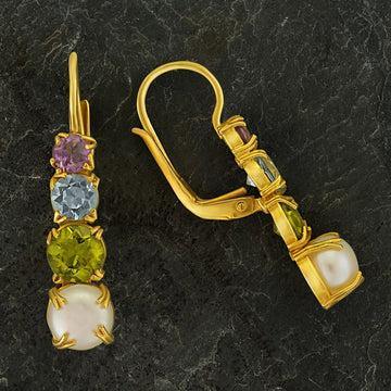 Christina Rossetti Pearl, Blue Topaz, Peridot and Amethyst Earring