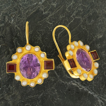 Queen Elinor Amethyst, Garnet and Pearl Earrings