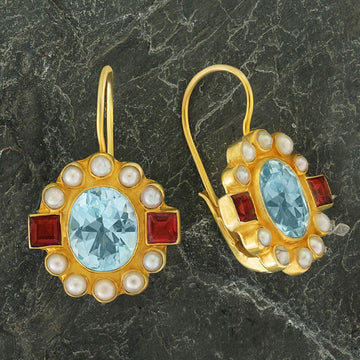 Queen Elinor Blue Topaz, Garnet and Pearl Earrings