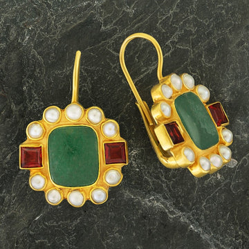 Duchess Of Malfi 14k Gold, Aventurine, Pearl and Garnet Earrings