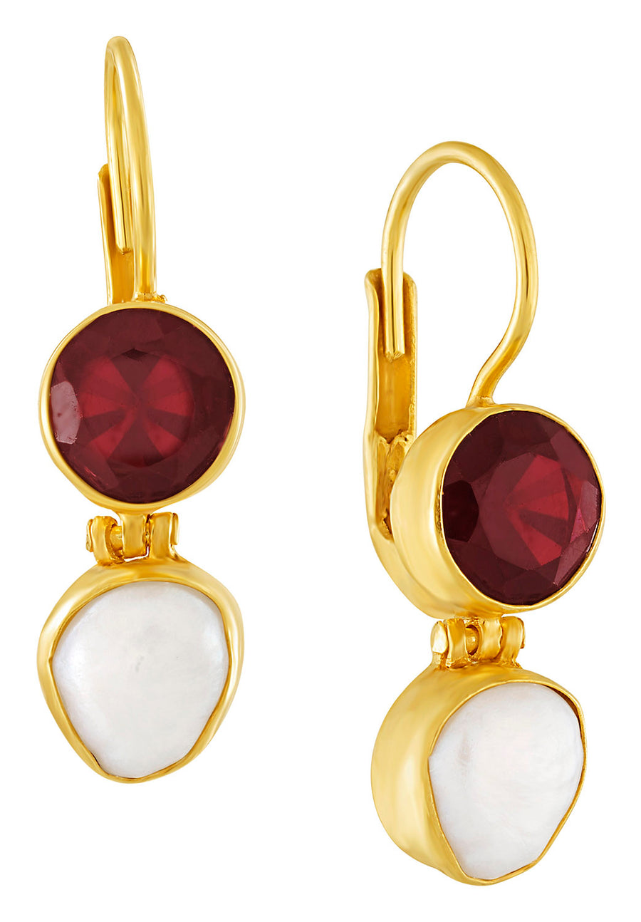 Lamermore Garnet and Pearl Earring