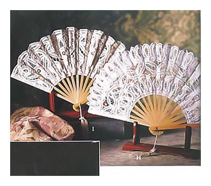 Pair Of Mikado Fans Beige & White
