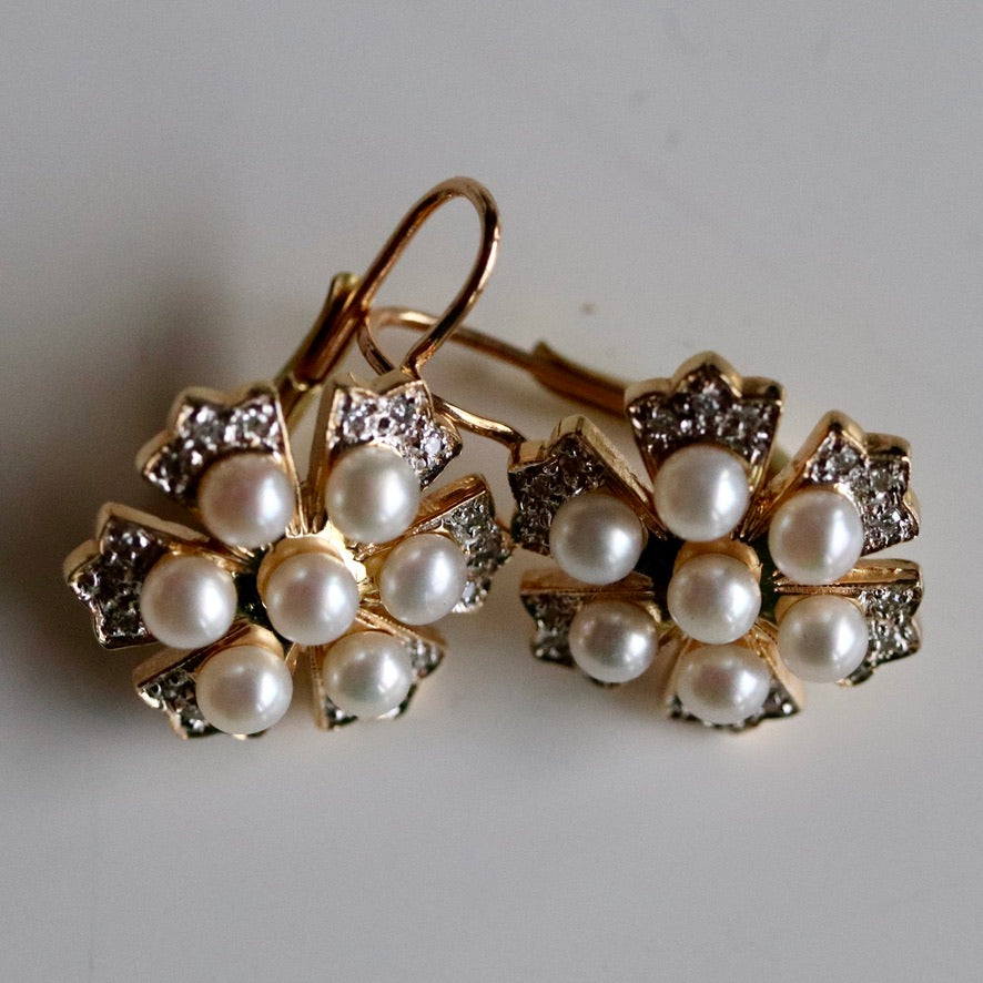 Crest 14k Gold, Diamond and Pearl Earrings