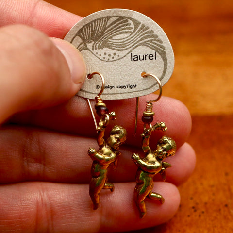 Vintage Laurel Burch Large Cherub Gold-Plate Earrings
