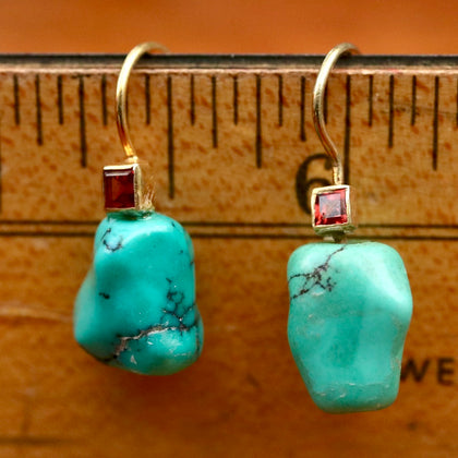 Taos Turquoise & Garnet Earrings