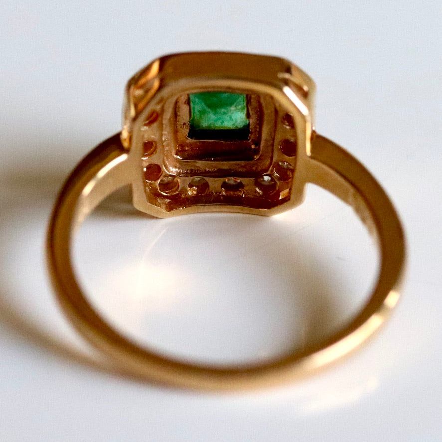 Goddess 14k Gold, Emerald and Diamond Ring