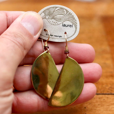 Vintage Laurel Burch Half-Circle Gold-Plate Earrings