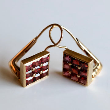 Dunand 14k Gold and Garnet Earrings