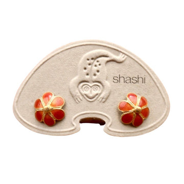 Vintage Shashi Enamel Flower Orange Studs