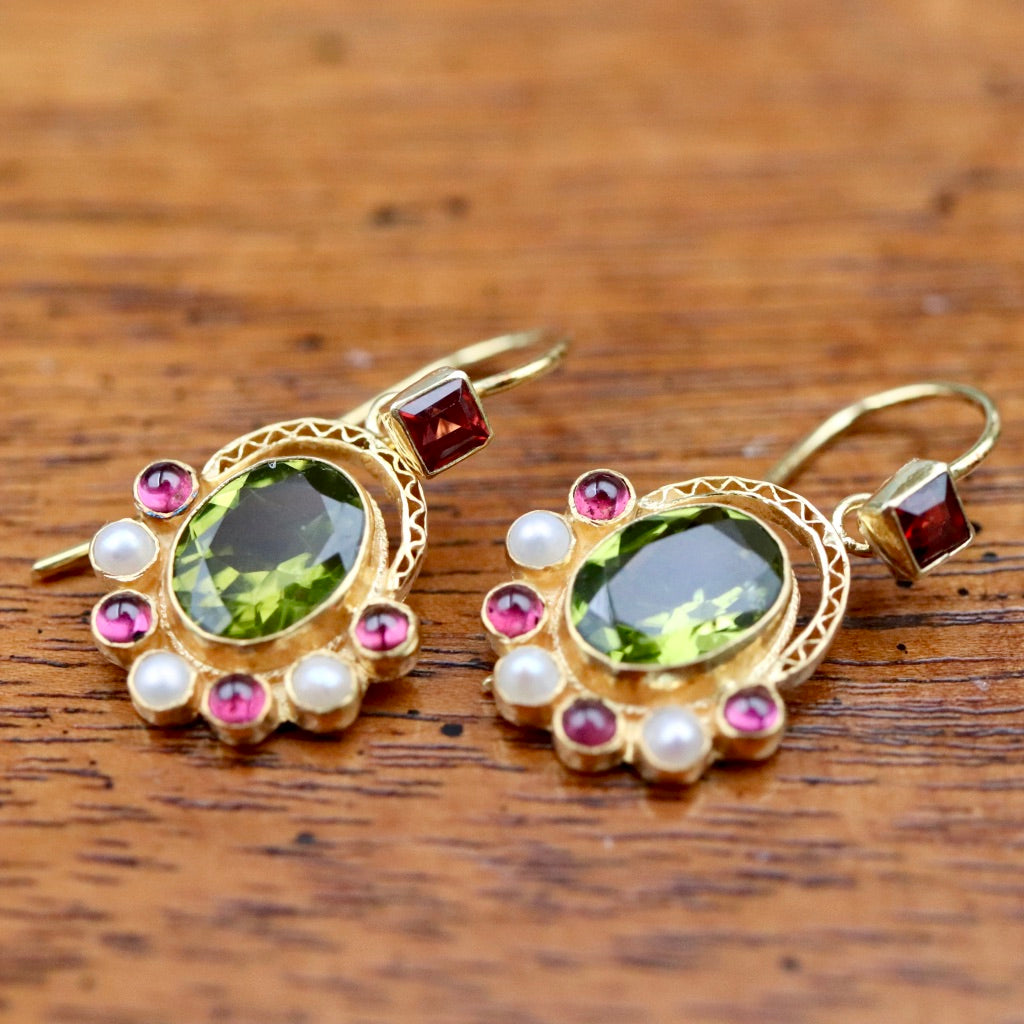 Sotherby 14k Gold, Peridot, Garnet and Pearl Earrings