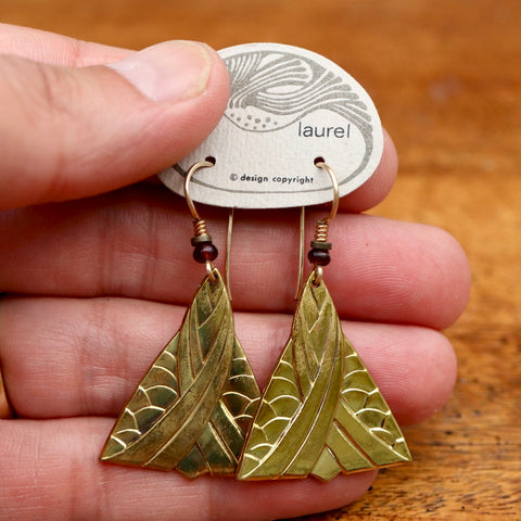 Vintage Laurel Burch Golden Triangle Gold-Plate Earrings