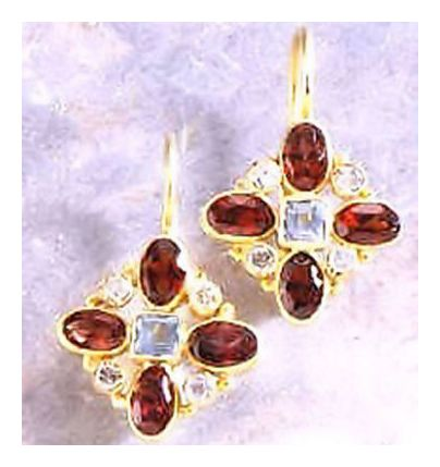 14k Buckingham Garnet and Topaz Diamond Earrings (.25ct)