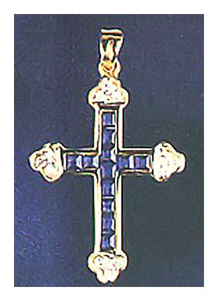 Avignon 14k Gold, Sapphire and Diamond Cross