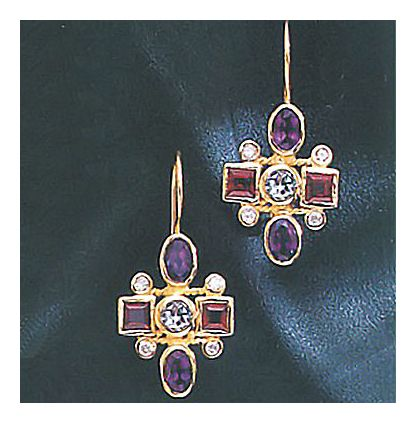 14k Renaissance Cross Earrings