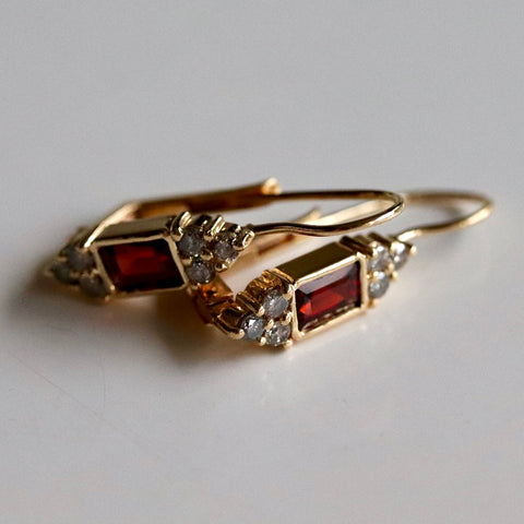 14k Garnet & Diamond Earrings