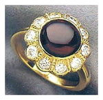 Jane Seymour Ring: Cabochon Garnet and Diamonds in 14k Gold