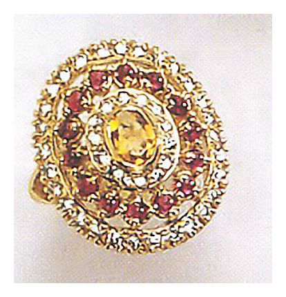 14k Morgan Le Fay Citrine Garnet & Diamond Ring (.70ct)