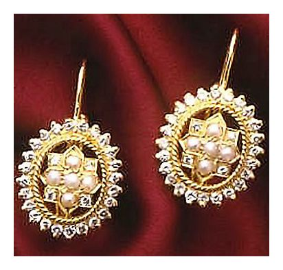 14k Diamond & Pearl Earrings (1.07ct)