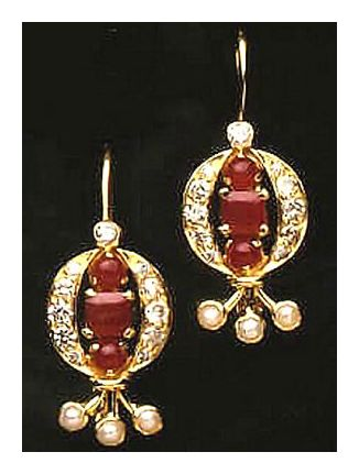 14k Ruby Diamond & Pearl Earrings (.36ct)