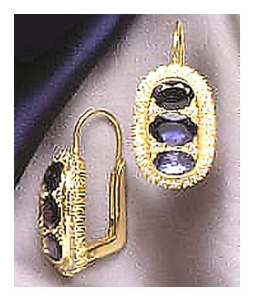 Stoplight 14k Gold and Iolite Drop Earrings