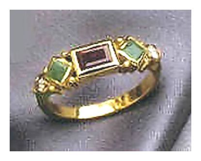 14k Garnet & Emerald Diamond Ring (.11ct)