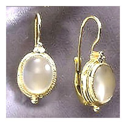 Cinderella 14k Gold, Moonstone and Diamond Earrings